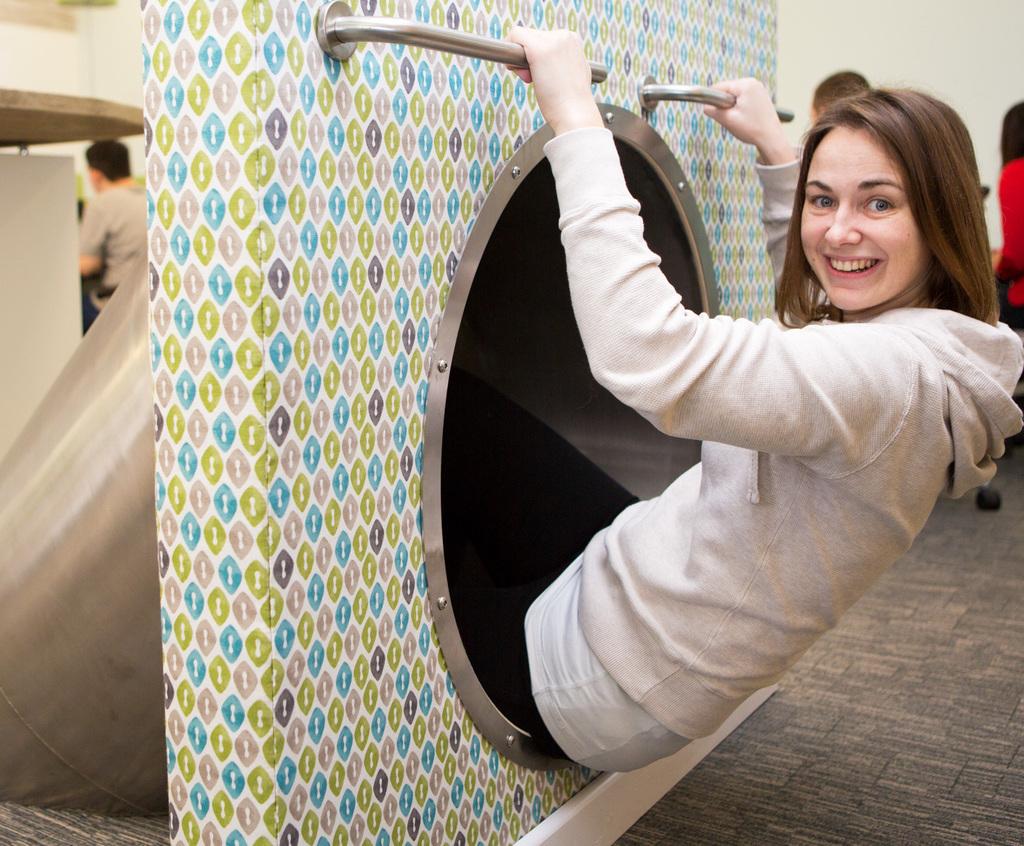 Interior slide creates fun feature for office staff