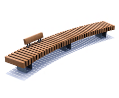 Rough&Ready Curve Bench with backrest