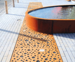 CorTen Tree Grids in strip format with integrated light