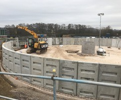 Wall units being lifted into place