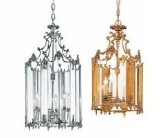 Rococo brass lanterns in antique silver and gold plate