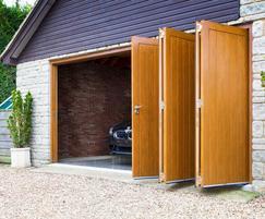 Sliding doors on a garage