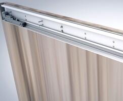 Top-hung sliding door with hidden, adjustable mechanism