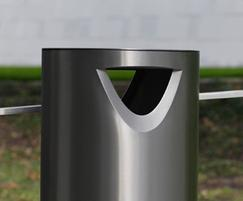 s11.3 stainless steel litter bin with chamfer aperture