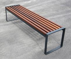 s22 galvanised steel bench with iroko seat