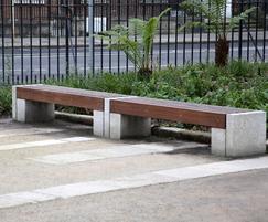 Bespoke iroko timber and stone benches