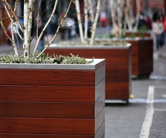 s39 galvanised steel and timber tree planter