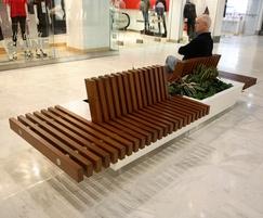 Bespoke iroko timber seat with planter