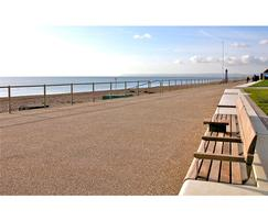 Norfolk wall top bench with backrest at Bexhill-on-Sea
