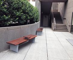 Backless benches with armrests
