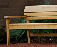 Chico bench with hand carved inscriptions