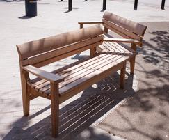 Bespoke double aspect Chico bench at Catford Broadway