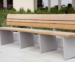 Bespoke curved oak benches with cast aluminium frames