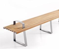 Meko straight bench in FSC Iroko with optional armrests