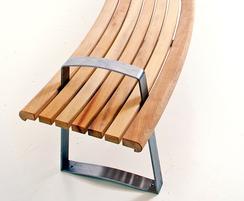 Meko curved bench in FSC Iroko