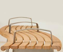 Meko curved bench in FSC Iroko - detail