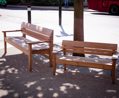 Adult and children's Chico benches at Catford Broadway