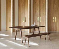 Sage dining table and bench seating - walnut