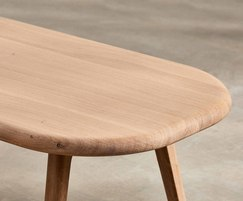 Sage oblong coffee table  showing rounded corners