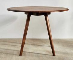 Sage high round meeting table in walnut