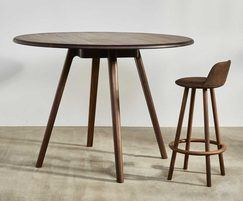 Sage high huddle round meeting table and stool - walnut