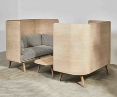 Sage high sofas and coffee table in oak