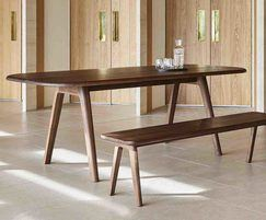 Sage rectangular meeting table and bench in walnut