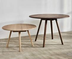 Sage round meeting table and bench in walnut