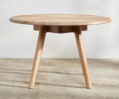 Sage round meeting table and bench in oak