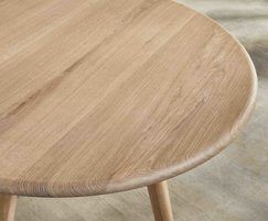 Sage round meeting table and bench with oak top