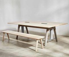 Sage sit-stand meeting table with bench