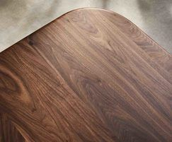 Sage rectangular dining table showing walnut woodgrain