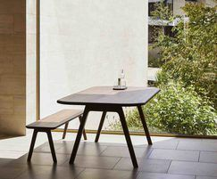 Sage rectangular dining table and bench in walnut