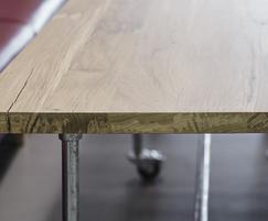 Bespoke solid oak desk with galvanised scaffolding base