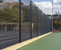 Dulok Sports mesh fencing with wooden kick board