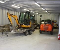 Secure storage unit for cemetery maintenance depot