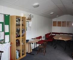 Inside the bowls club pavilion