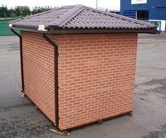 Brick-clad public toilet block