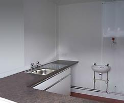 Apex modular kiosk interior, kitchen