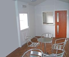 Apex modular kiosk interior, seating area