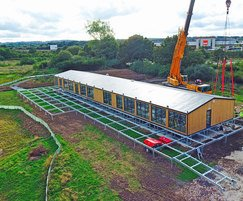 Modular visitor centre building being installed