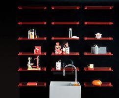 Amber plastic shelves