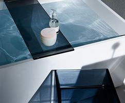 Blue plastic bath shelf and stool