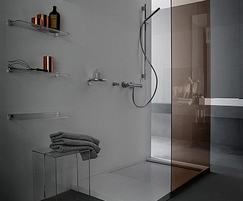 Transparent plastic shelves, rails and side table