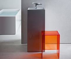 Amber plastic stool and free standing basin min