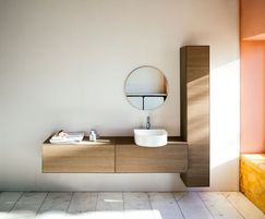 SONAR vanity unit, curved washbasin in SaphirKeramik
