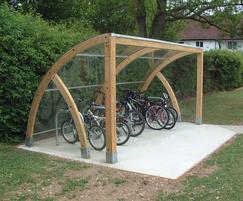 Douglas Fir timber quadrant cycle shelter