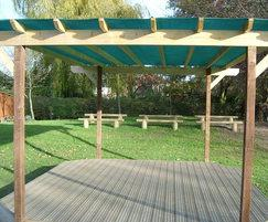 pergola stage with benches