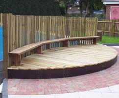 rounded stage with benches