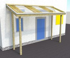 Graphic renders of the entrance canopy